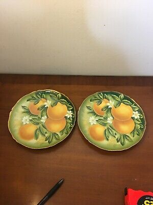 Antique Orange Blossom Plates Hand Painted Giovanni Bavaria