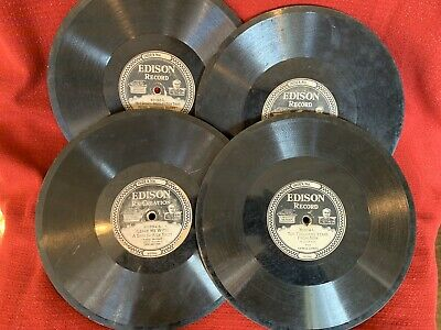 Lot Of 4 Edison Diamond Disc Phonograph Record Victor Marches Medleys Waltzes