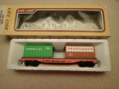 Life Like Trains 8441 HO Gauge Flat Car with 2 Containers Illinois Looks Unused