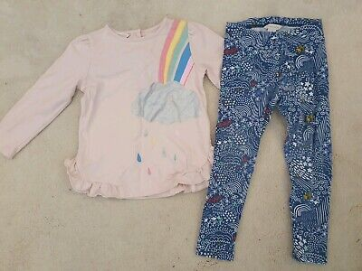 Monsoon Girls Outfit Pink Navy Top Leggings Clouds 2-3