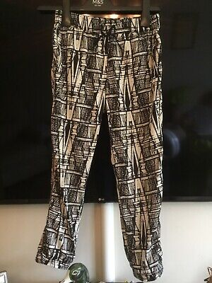 Girls Black & Cream With Gold Sequins Patterned Trousers Age 9 From Next