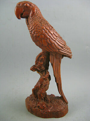 "7""Antique Chinese Old Boxwood Hand Carved Big Parrot Statue"