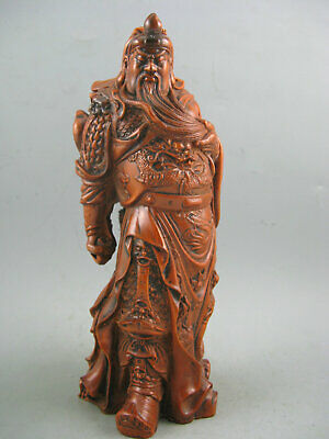 "7""Antique Chinese Old Boxwood Hand Carved Big GuanGong 关公 Statue"