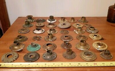 Large Collection Of Old Reclaimed Brass Door Knob Back Plates