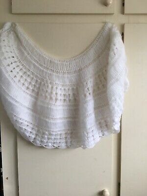 Hand Knitted White Bed Jacket