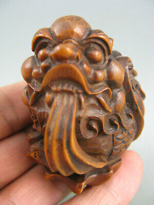 Antique Chinese Old Boxwood Hand Carved Dragon Netsuke Statue