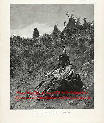 Cheyenne Nation Native American Indian Flute Player, Large 1880s Antique Print