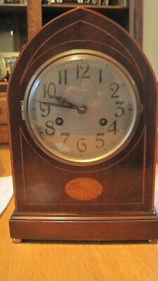 French Mahogany Belle Epoque Mantel Clock Inlaid with Satinwood