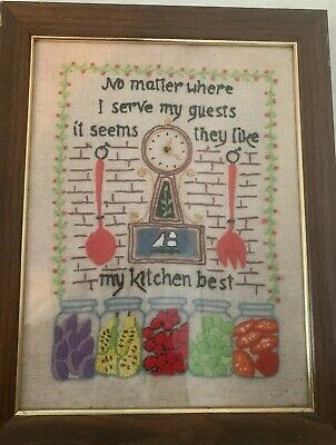 "Vintage Crewel Embroidery Stitchery ""No Matter Where I Serve My Guest.."" Framed"