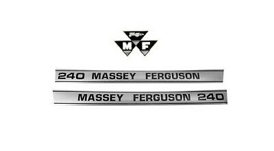 Massey-Ferguson MF 240 MF240 Tractor Hood Decal Set w/Triangles Sticker L@@K