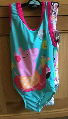 Girls 2 Pack Of Peppa Pig One Piece Swimming Costumes Age 3/4 From George New