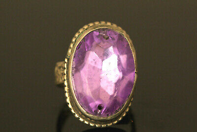 Vintage Tribal Silver Ring, Huge CZ Amethyst Ring US Size 8 Stone size 20x15mm