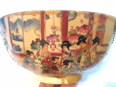 Chinese Bowl, Hand Crafted, Hand Painted, Large Antique/Vintage Style