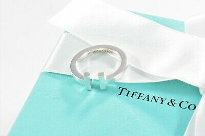 Tiffany & Co Sterling Silver T Square Ring Size 8.5 Love Band +Box Pouch Ribbon