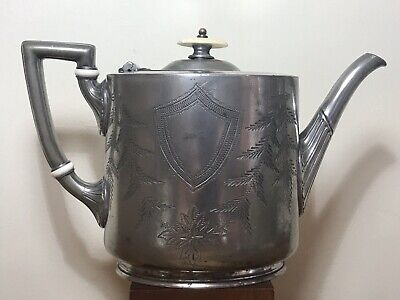 Antique James Allan Teapot Ornate Silverplated Sheffield 1855-1872 Collectable