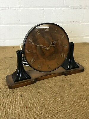 Vintage Burr Walnut Electric Smiths Art Deco Mantle Clock