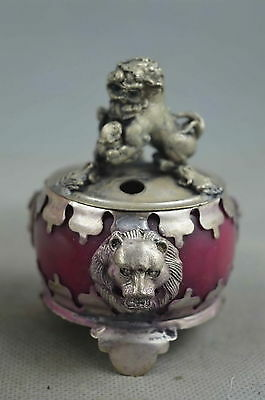 China Collection Miao Silver Carve Lion Inlay Agate Lucky Unique  Incense Burner