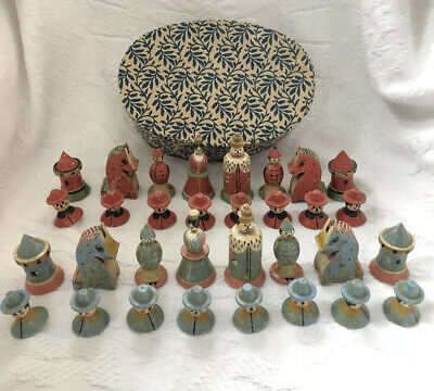 Vintage Antique German ? Hand Painted Folk Art Chess Set Wood Pieces In Old Box