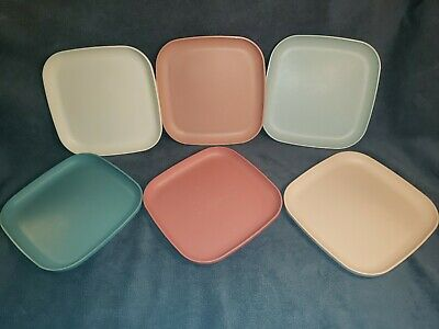 """Tupperware Plates Set of 6 Vintage Square Lunch Dishes 8"""" in Country Pastel"""