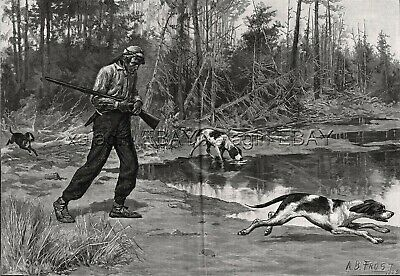 Tracking Dogs & Native American Indian by A.B. Frost, Large 1880s Antique Print