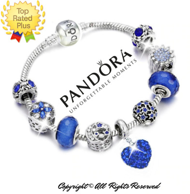 Authentic Pandora Bracelet Silver Blue Heart Shamballa with European Charms New