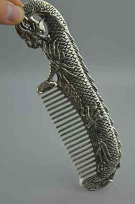 Collection Handwork Tibet Old Miao SIlver Carve Exorcism Dragon Auspicious Comb