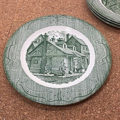 "The Old Curiosity Shop Set Of 4 Dinner Plates, Green, 9 7/8"" Wide"