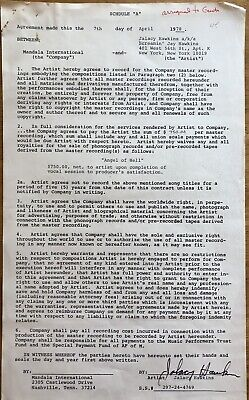 Screamin' Jay  Hawkins Rare Autographed Recording Contract ,Document Signed