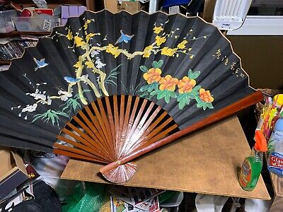 """Very Old Large Chinese Wooden Folding Fan 70"""" Flowers Birds"""
