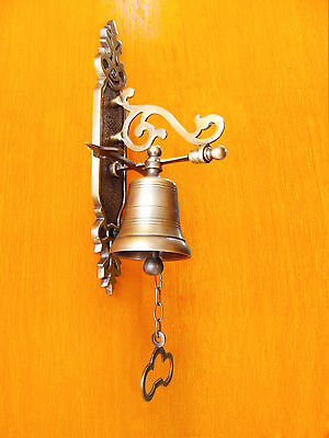 """Vintage Antique Solid Brass Gate Front Door Bell 8""""inches Tall Excellence"""