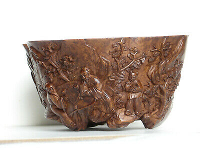 Chinese Antique Wood Bowl, Shape of a Cupped Lotus Leaf, Carved Exterior Figures