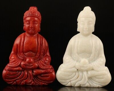 2 Buddhist Chinese Natural Jade Pendant Statue Guanyin Spiritual Old Collection