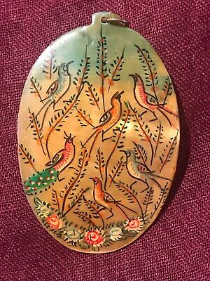 Stunning Large Vintage Hand Painted Persian Mother Of Pearl Pendant Birds