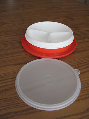 "Tupperware Child's No Spill Divided ""Little Dinner"" Dish #1317 w/ Lid~EUC"