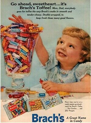 1956 BRACH'S Toffee - Cute Kid Takes A Handful Of Brach's Toffee VINTAGE AD