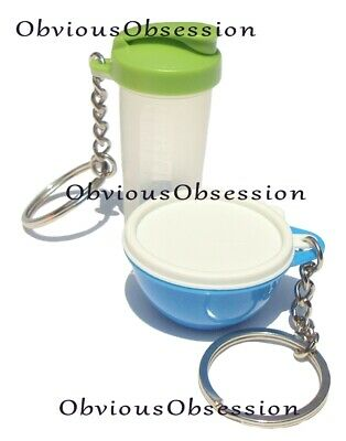 New Tupperware Keychains Lot 2 Set Mini Thatsa Bowl Blue Quick Shake Green
