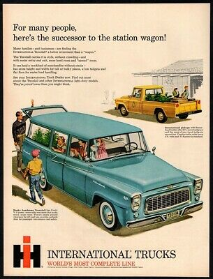 1960 INTERNATIONAL TRUCKS TRAVELALL Wagon Family Shopping For Plants VINTAGE AD
