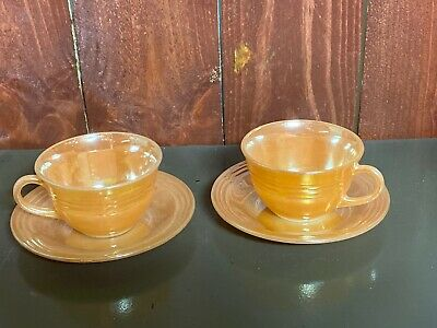 Set Of 2 Vintage Fire King Peach Luster Laurel Tea / Coffee Cup And Saucers
