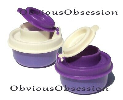 Tupperware Smidgets Salt and Pepper Shakers Set Mini Tiny Bowls Purple White