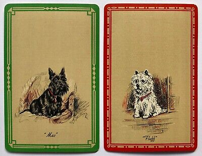 Pair of Vintage Swap/Playing Cards - DOGS - MAC & FLUFF - LUCY DAWSON ARTIST