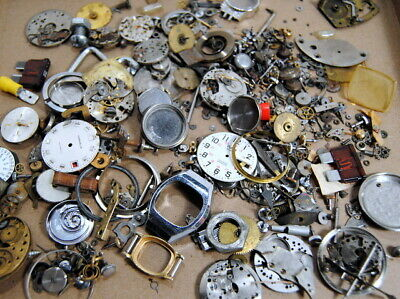 Large Lot Watch Parts Movements Dials Crowns Stems Parts Arts Crafts Steampunk