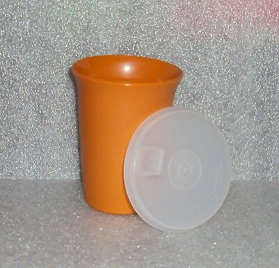 New Tupperware Butterscotch Bell Tumbler Sheer Clear Flat Sipper Seal Sippy Cup