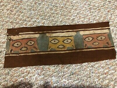 "Precolumbian Nazca Textile strip from a larger textile 12"" X 4"" showing 3 faces"