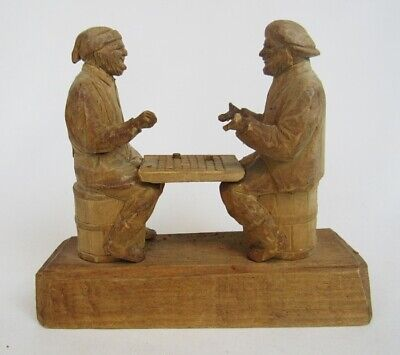Vintage Arthur Dube Carved Wood Men Playing Checkers Board Game Sculpture