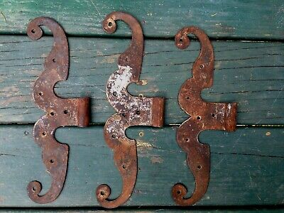 """Set Of 3 Antique 12"""" Salvaged French Moustache Window Hinges France Wrought Iron"""