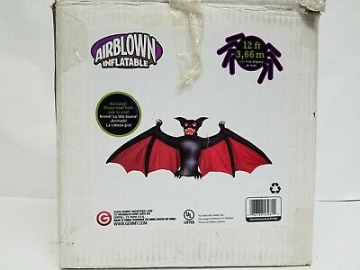HTF GEMMY ANIMATED SCARY BAT Halloween Airblown Inflatable Yard Decor Prop 12'