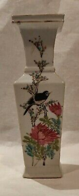 AN Antique CHINESE FAMILLE ROSE PORCELAIN SQUARE VASE