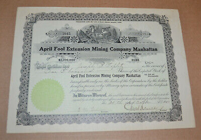 April Fool Extension Mining Company Manhattan 1907 antique stock certificate