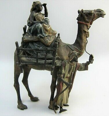Rare Franz Bergman Cold Painted Bronze Camel with Egyptian Family Signed #2607