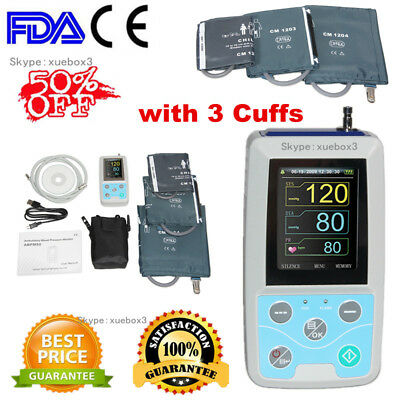 24 Hours Ambulatory Blood Pressure Monitor NIBP Holter,3 Cuffs,USB,,PC Software